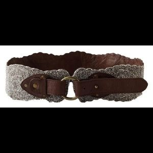 Anthropologie beaded and leather belt